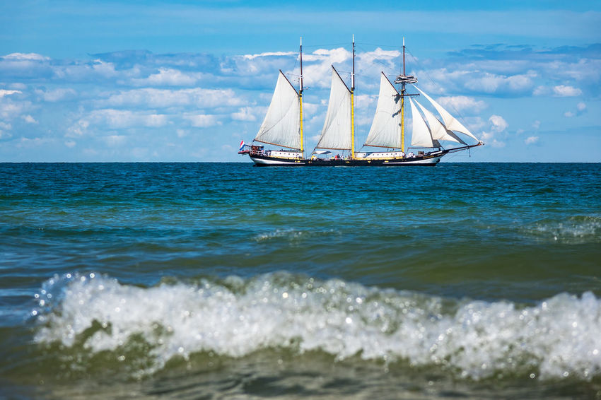 Sailing ship on the Baltic Sea. Baltic Sea Beauty In Nature Cloud - Sky Horizon Over Water Journey Mode Of Transport Nature Nautical Vessel No People Outdoors Rostock Sail Sailing Sailing Boat Sailing Ship Sea Sky Tall Ship Tourism Transportation Travel Warnemünde Water Wave Windjammer