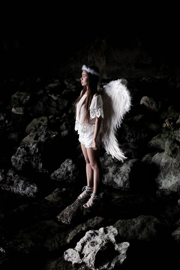 Angel Angel Wings Fantasy Beauty One Person Fashion Adults Only People Beautiful Woman Portrait Dreamlike One Woman Only Black Background Adult Only Women Night Outdoors