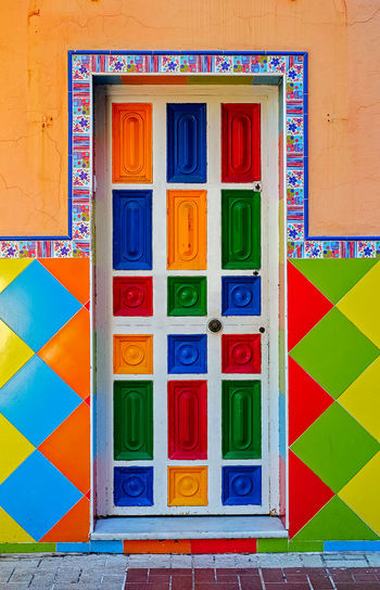 Multicolor door Architecture Building Exterior Built Structure Close-up Colored Door Day Door Lock Multi Colored No People Outdoors Text Vibrant Color