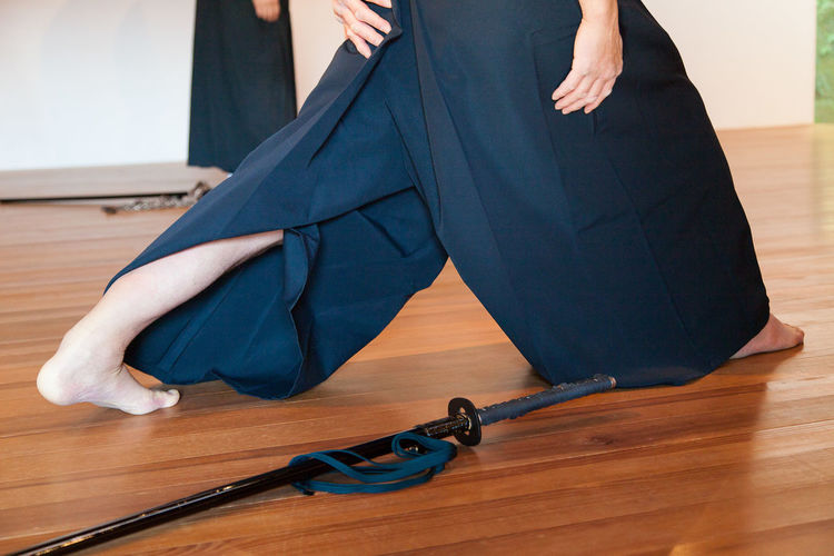 Blue Hakama Hakama Japanese Sword Japanese Ceremony Iaido Martial Art Samourai Japan Sword Katana Indoors  Katana Occupation Sports Three Quarter Length