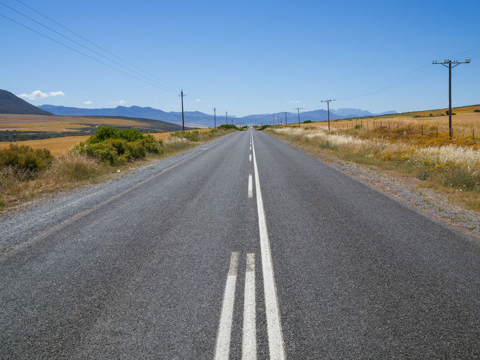 Empty road on landscape against clear sky with cederberg mountains in background, south africa