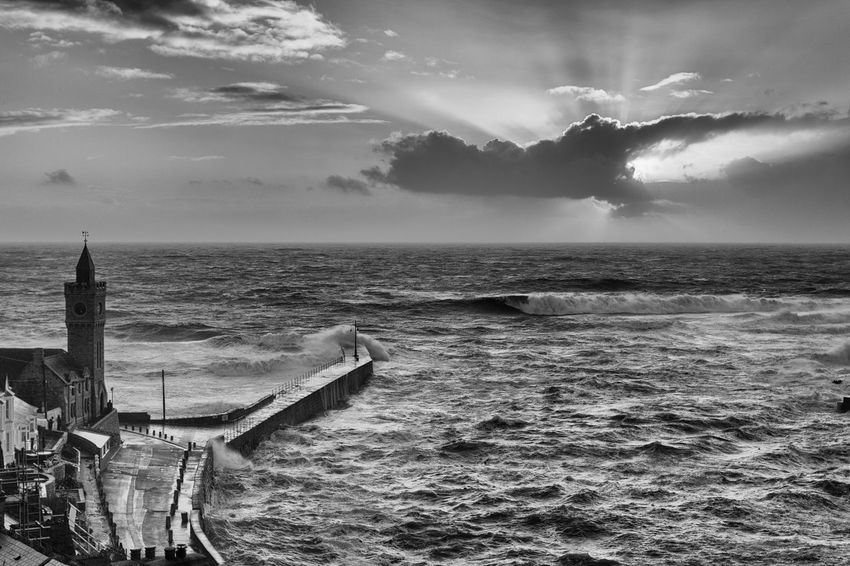 Beauty In Nature Black And White Blackandwhite Blackandwhite Photography Cloud - Sky Cornwall Cornwall Uk Day Horizon Over Water Mono Monochrome Monochrome Photography Nature No People Outdoors Porthleven Scenics Sea Sky Storm Stormy Weather Sunbeam Tranquil Scene Tranquility Water