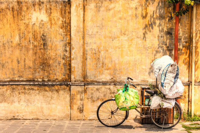 Hoi An Absence Bags Bicycle Cycle Day Hoi An Land Vehicle Leaning Loaded Mode Of Transport No People Old Outdoors Parked Parking Stationary Texures Tourism Urban Vietnam Wall Yellow