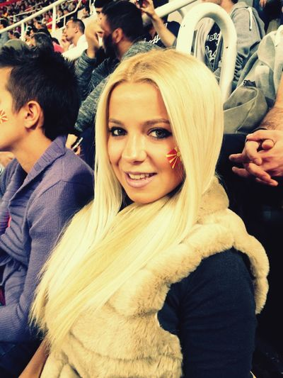 Goal Game Fans Soccer Ilovemacedonia Flag Team Blonde Girl ⚽️🏁