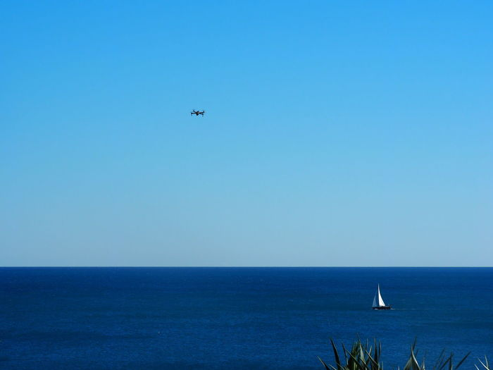 Sky Horizon Horizon Over Water Sea Water Flying Mode Of Transportation Transportation Clear Sky Blue Air Vehicle Airplane Beauty In Nature Scenics - Nature Nature No People Copy Space Travel Mid-air Sailboat