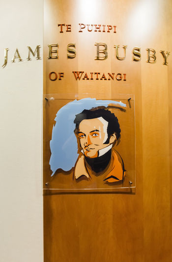 Painting of James Busby, British government's representative from 1833 to 1840 in Waitangi, New Zealand. 18th Century Famous HEAD James Busby Man Politics Text Tradition Waitangi British Empire Colonialism Cultures Headshot History Information Information Sign Museum National Trust New Zealand Painting Politician Politics And Government Portrait The Past Treaty