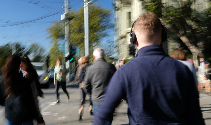 Group Of People Blurred Motion Walking City Rear View Real People Motion Street People Adult Crowd City Life Built Structure Outdoors Melbourne