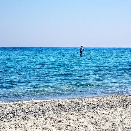 Water Paddleboarding Sea Full Length Clear Sky Beach Blue Summer Sky Horizon Over Water