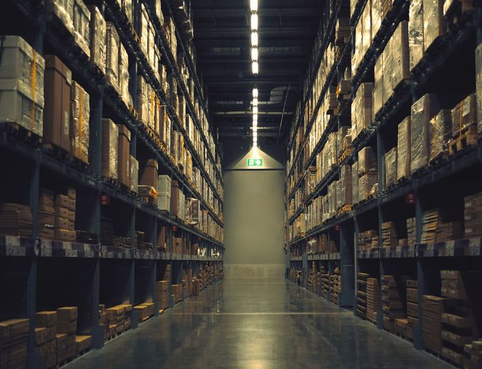 Inside warehouse industrial Shelf Stack Warehouse Storage Room In A Row Storage Compartment Indoors  Freight Transportation Industry Large Group Of Objects Factory No People Network Server Day