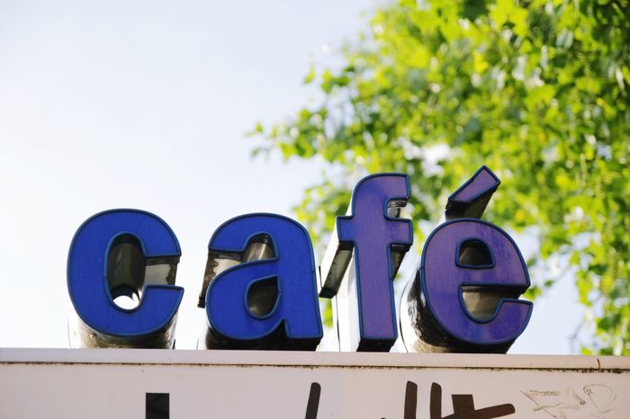 Cafe Typography Letters Restaurant Sign Blue Outdoors Urban Germany City City Life Summer EatOut Kaffeepause Coffee Coffee Break Coffee Time Signage Schriftzug