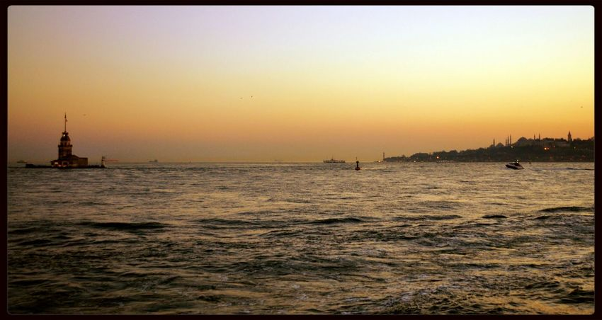 Maiden Tower Istanbul Turkey Enjoying The Sunset Sea And Sky