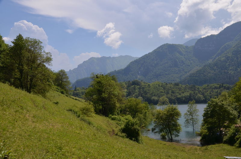 Scenic view of grassy field by lake against mountains