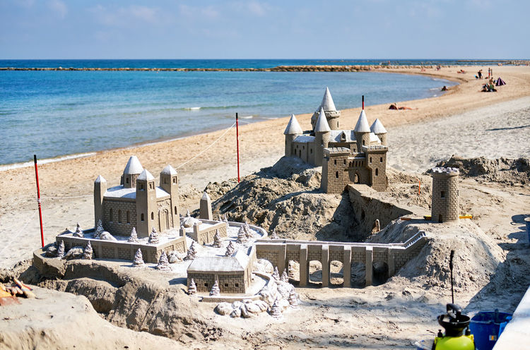 Sand castle on the beach of El Campello. El Campello is a town on the Costa Blanca. Alicante. Spain Alicante Alicante, Spain ArtWork Costa Blanca El Campello Figure Mediterranean Sea SPAIN Sand Castle Sandcastle Beach El Campello Spain Europe Fortification Fortress Landscape Outdoors Sand Sculpture Sea Sky Suny Day Tourist Resort Tower Travel Destinations Water