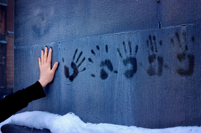 A woman's hand, leaving prints on a frozen wall Human Hand One Person Real People Cold Temperature Close-up Winter Wintertime Winter Wonderland Frozen Frost Ice Snow Wall Woman Hand Cold The Week On EyeEm