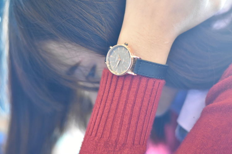 Girl friend 💖 Female Woman Love Clock Close-up Cute Girl Friend Human Body Part Human Hand Indoors  Love ♥ Lovely Nice One Person Time Times Watch Wristwatch