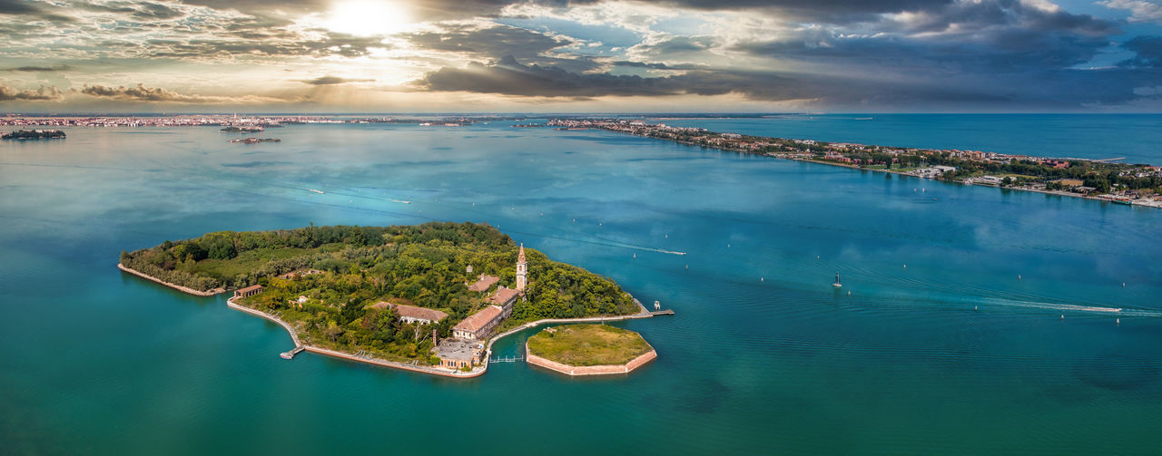 Aerial view of the plagued ghost island of poveglia in venice