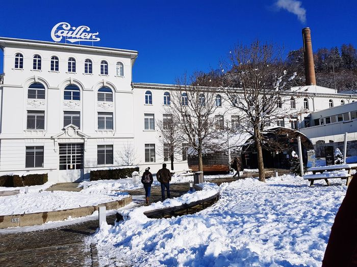 Cailler Chocolate Factory Factory Cailler Chocolate Broc Winter Snow Snow Winter Cold Temperature Clear Sky Blue City Sky Architecture Building Exterior