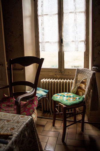 Absence Chair Chairs Curtain Day Furniture Grandmas House Home Interior Home Showcase Interior Indoors  Loneliness No People Nostalgic  Old-fashioned Pillow Seat Table Window