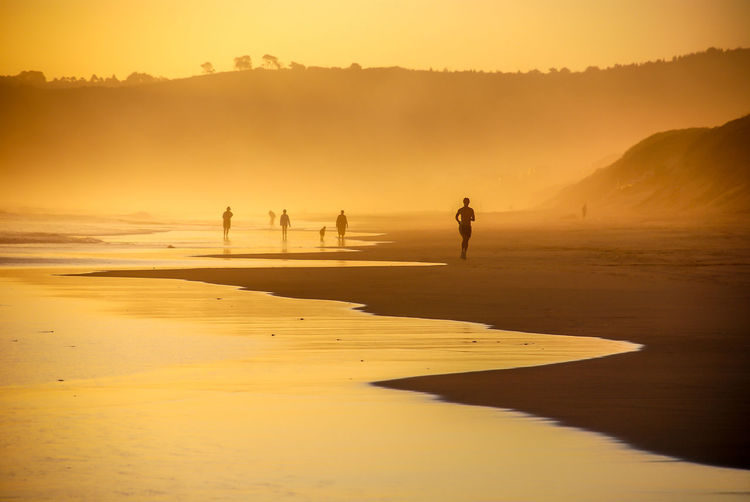 Silhouette People At Beach During Sunset In Foggy Weather