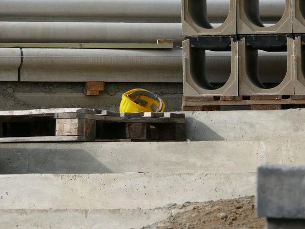 Concrete Construction Site Elbe River Hamburg Pallet Philharmonie Precast Elements Safety Helmet Wood Yellow