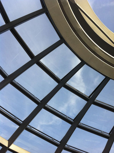 Architectural part of glass dome atop the Reichstag Abstract Architecture Berlin Reichstag Ceiling Design Indoors  Low Angle View Metal Modern Ornate Pattern Structure