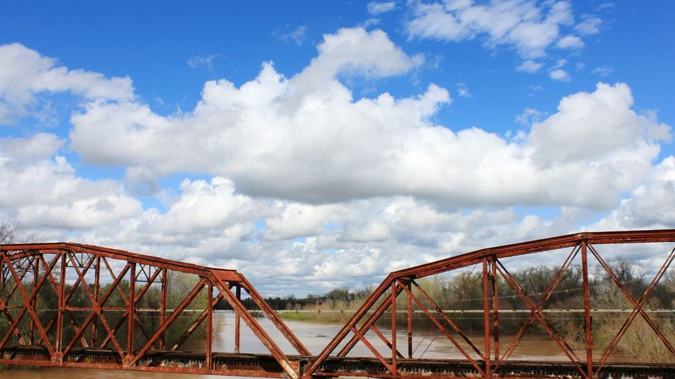 Bridges Red Sky And Clouds Brazos River Texas Steel Truss Muddy Water