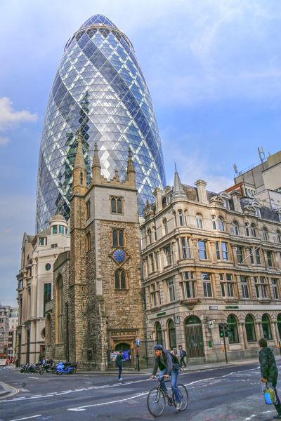 Building Exterior Day England Famous Place Landmark London Outdoors Tourist Attraction  Gherkin Building