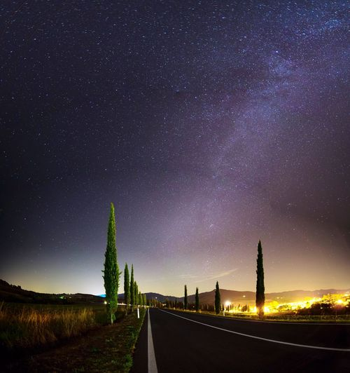 Night Star - Space Astronomy Illuminated Road Tranquility Sky Tuscany Italy The Way Forward Nature Outdoors No People Galaxy Beauty In Nature The Week On EyeEm EyeEm Best Shots Landscape EyeEm Gallery Tuscany Countryside Agriculture Starry Milky Way Tree EyeEm Selects