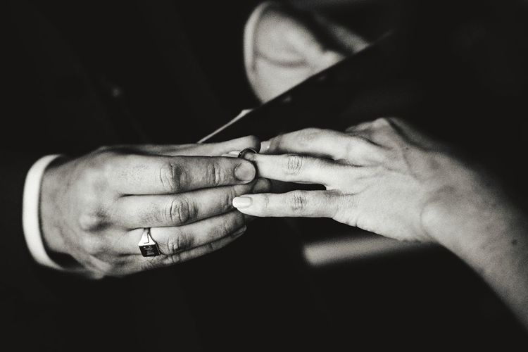 Cropped hands of wedding couple