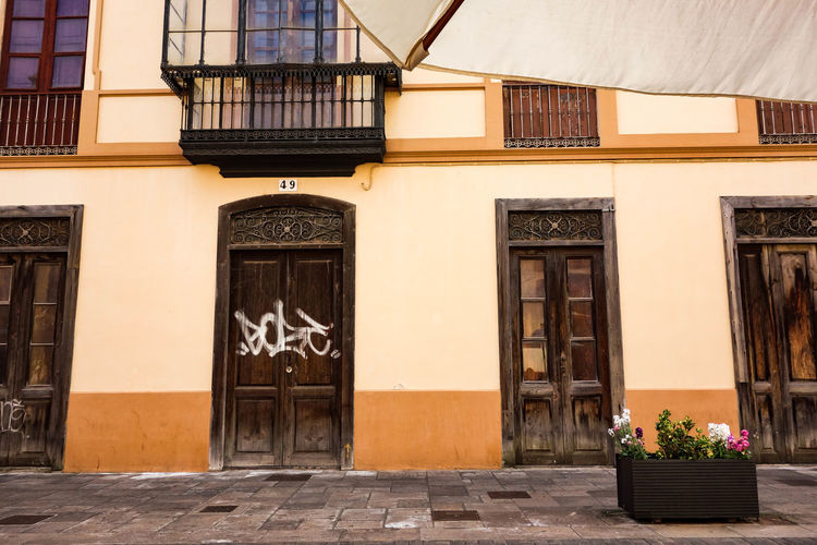 Architecture Balcony Building Exterior Built Structure City Citylife ExploreEverything Flowers And Plants Going For A Walk Graffiti La Laguna No People Old Buildings Old Town Outdoors Santa Cruz De Tenerife SPAIN Street Tenerife Tenerife Island Wanderlust