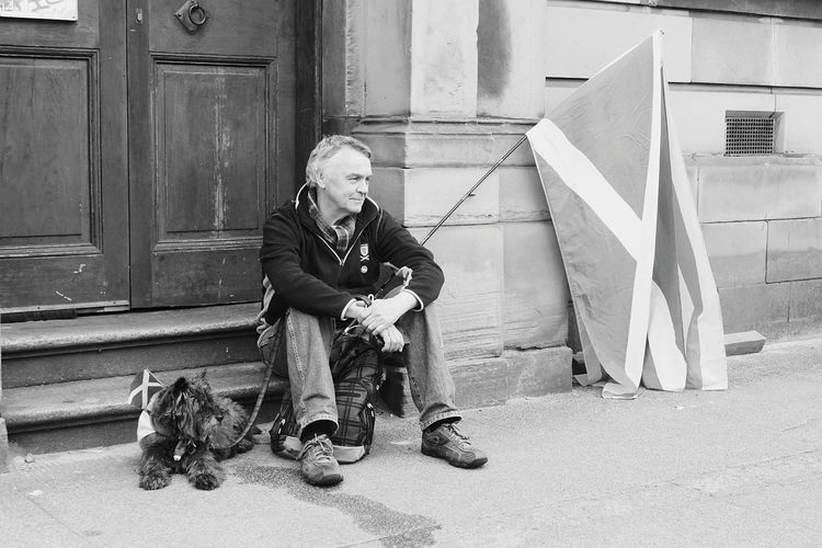 Photography Photographer Independence Politics And Government Politics Indy Referendum Scotland Glasgow  March Auob Political Rally Cultures Nationalism Full Length Warm Clothing Sitting Child City Childhood Happiness Self Portrait Photography