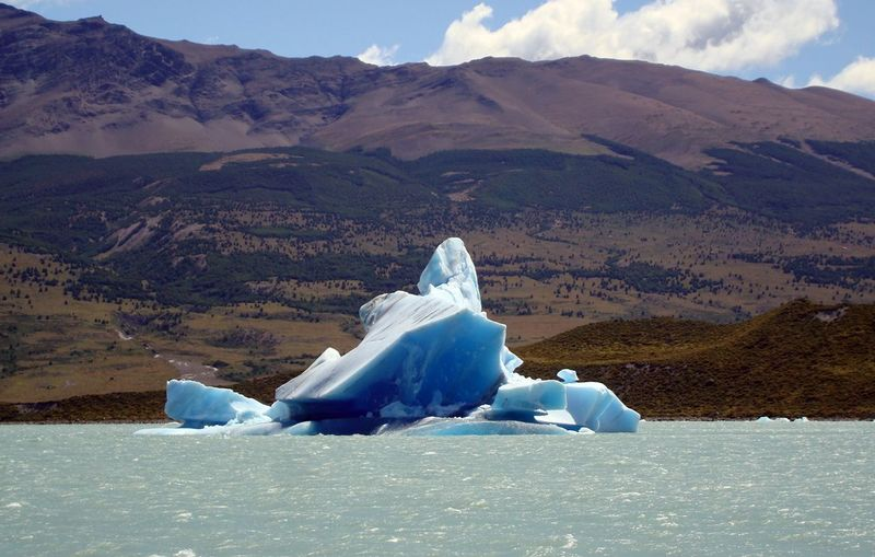Majestic glacier floating on sea in patagonia