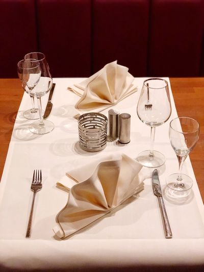 Dinner Fork Table Napkin Place Setting Tablecloth Table Knife Salt Shaker Food And Drink No People Dining Table Celebration Event Drinking Glass Wineglass Party - Social Event Indoors  Silverware  Wedding Plate Celebration Food