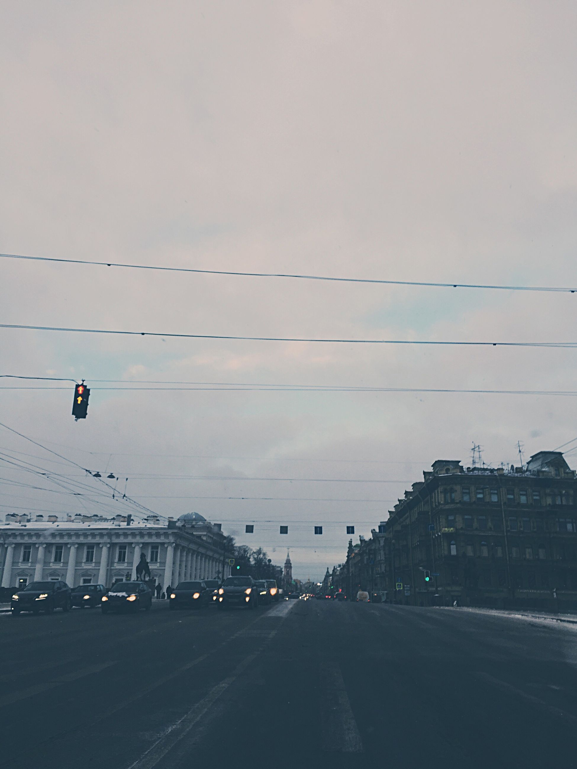 transportation, sky, outdoors, cold temperature, cloud - sky, winter, snow, city, day, nature, no people, architecture
