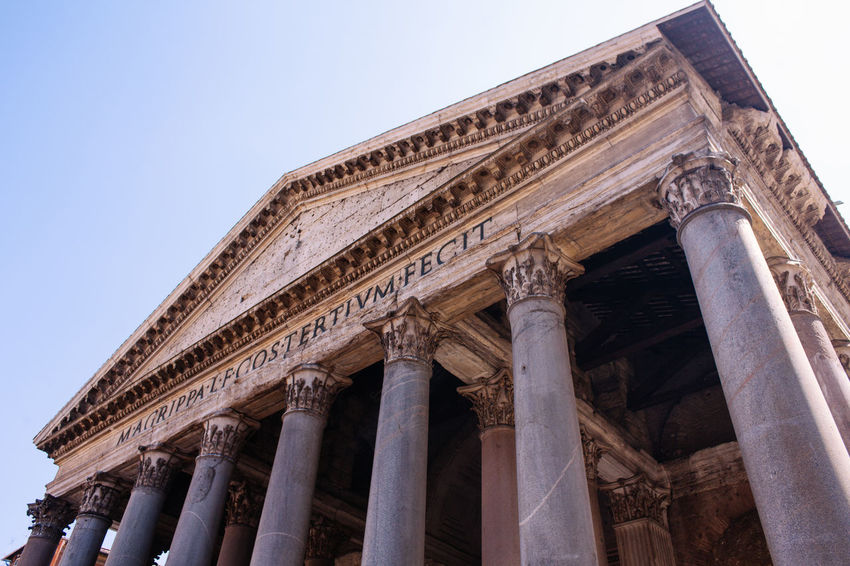 Patheon of Rome Ancient Ancient Civilization Architectural Column Architecture Building Exterior Built Structure City Day History Italy King Low Angle View No People Outdoors Patheon Pediment Roman Rome Royal Royal Palace Sky Tomb Tourism Travel Destinations