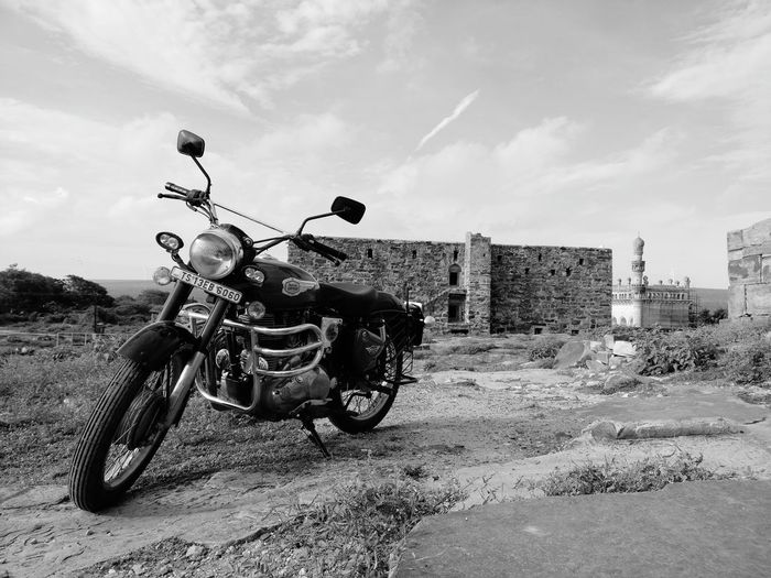 Motorcycle Day Cloud - Sky Sky Outdoors No People Roadtrippin' Gandikota Grandcanyonofindia EarlyMornings Royalenfield Heritage Building Heritage Site Mosque Architecture Landscape Clouds And Sky Lovetotravel Beauty In Nature Travel Photography Roadtripping Hills Gandikota
