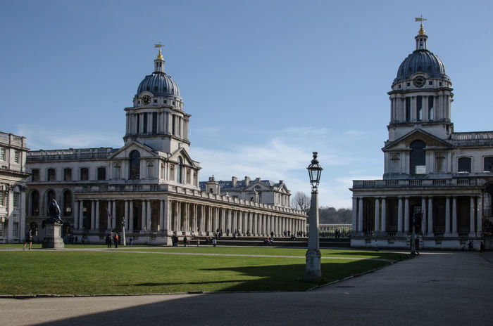Architecture Blue Building Exterior Built Structure City Life Clear Sky Culture Dome Façade Famous Place Grass Greenwich Naval College History Lawn Monument Outdoors Sky Tourism Travel Destinations