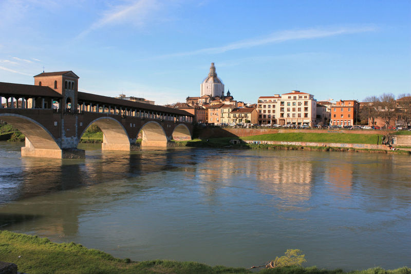 Pavia e il fiume Ticino Architecture Boat Bridge Building Exterior Built Structure City Covered Bridge Landscapes With WhiteWall Leisure Activity Pavia River Showcase March Ticino River Water Blue Wave