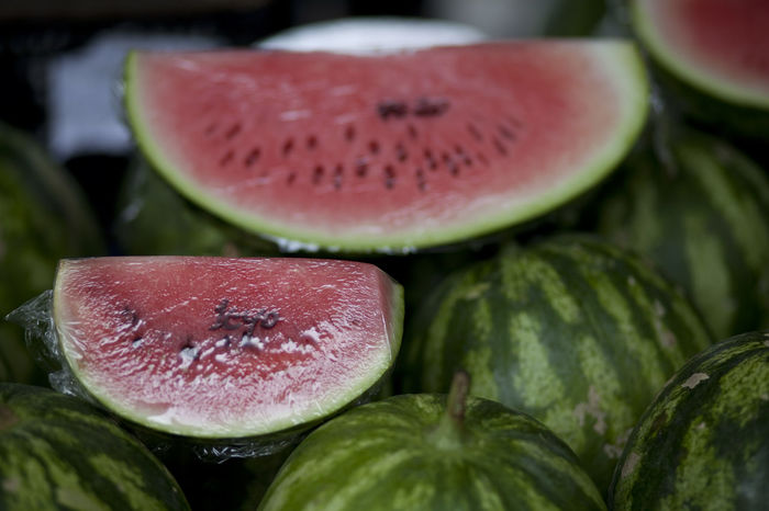 Watermelon stall Close-up Day Food Food And Drink Freshness Fruit Fruit Stall Green Color Healthy Eating Indoors  No People Selective Focus Stall Watermelon