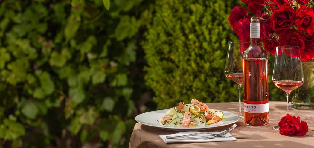 spring lunch in the garden with bottle of rose wine... Outdoor Spring Mealtime Wine Healthy Eating Lunch Garden Sunny Day Romantic