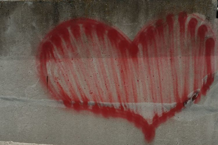 Close-up of heart shape on wall