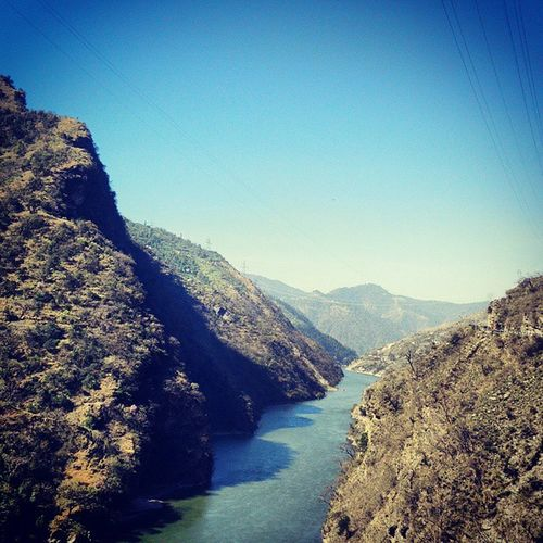 Landscape en route Chandigarh to Manali . River Beas flowing between Mountains . Incredible India