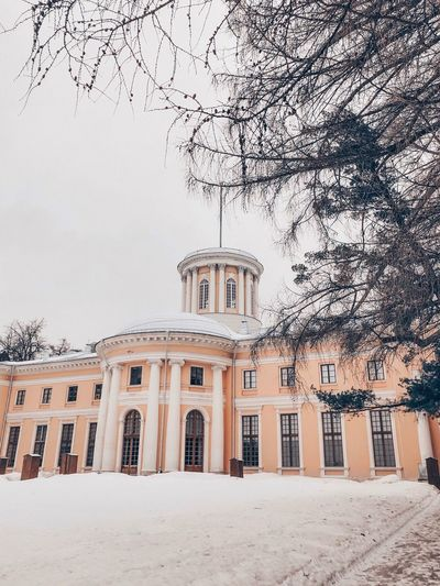 Building Exterior Built Structure Architecture Tree Nature Sky Building Plant No People Day Window History The Past Travel Destinations Outdoors Low Angle View Snow Place Of Worship Tourism