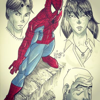 My Drawings Spiderman Illustrator Marvel Comics one of my favorite characters Spiderman with Mary Jane and uncle Ben :!) Enjoy !!