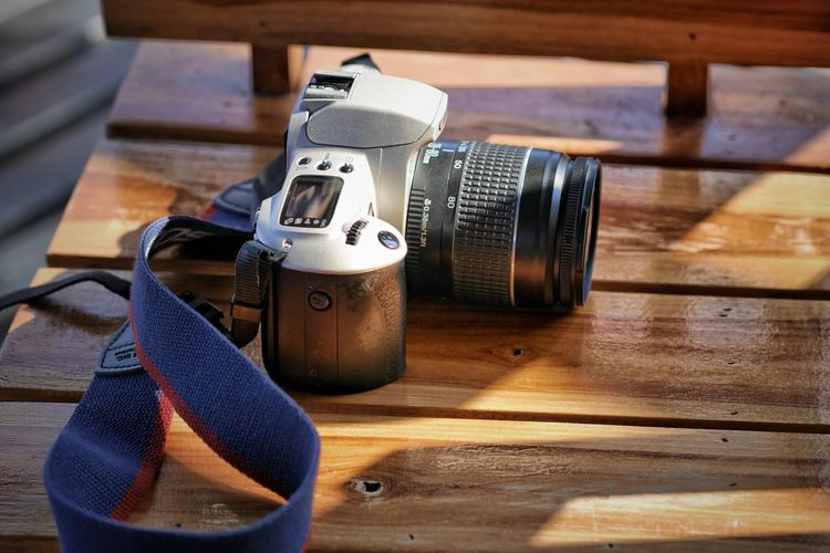 High angle view of camera on table