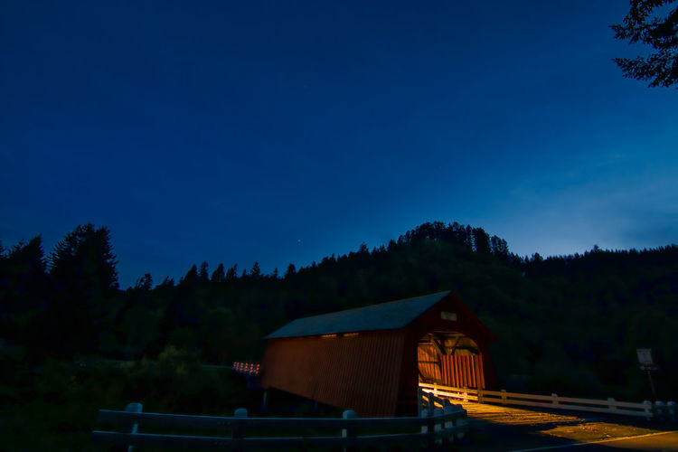 Architecture Beauty In Nature Blue Blue Hour Bridge Built Structure Clear Sky Covered Bridge Darkness And Light Day Fisher Covered Bridge Growth High Section Nature Night Night Lights No People Oregon Outdoors Roof Scenics Sky Tranquil Scene Tranquility Tree