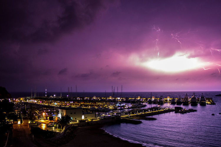 City Cityscape Astronomy Water Illuminated Sea Lightning Nautical Vessel Milky Way Space Urban Skyline Thunderstorm Storm Cloud Storm Hurricane - Storm Power In Nature Extreme Weather Torrential Rain