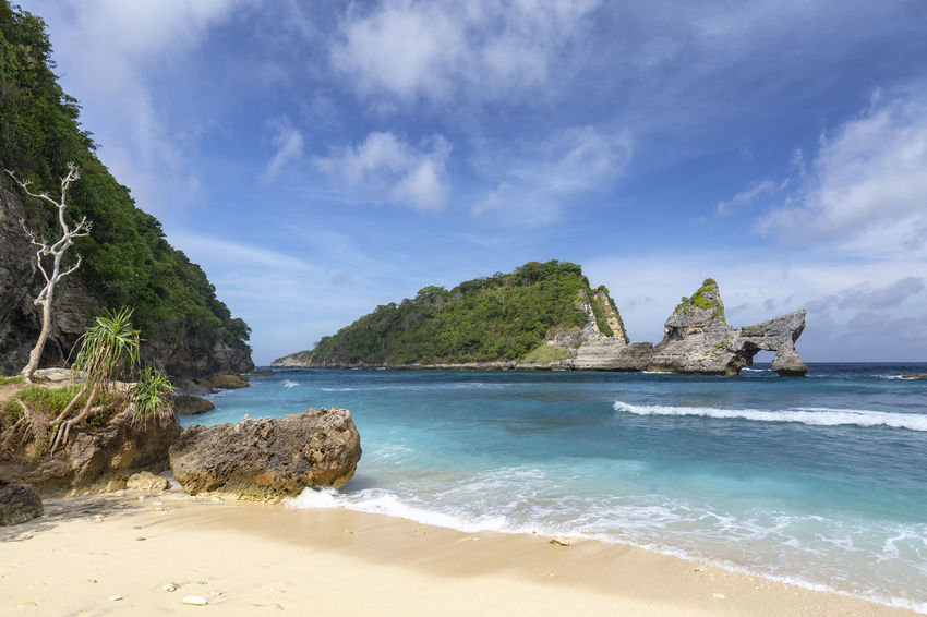 World class rock arch at Atuh Beach in Nusa Penida, Indonesia. ASIA Atuh Beach Bali Diving INDONESIA Snorkeling Sunny Travel Aquamarine Atuh Balinese Beach Blue Destination Diamond Klungkung Nusa Penida Paradise Pejukutan Relax Summer Swim Tourism Tropical White Sand