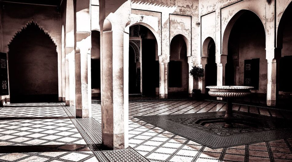 Morocco Marrakech Archways Blackandwhite Darkandlight Interior Marble