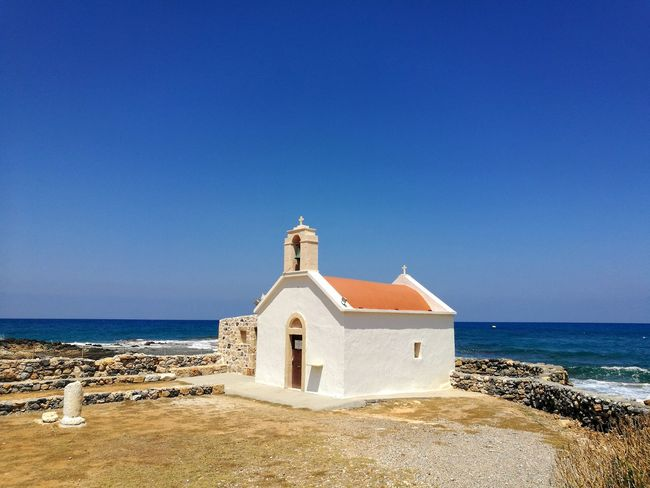 Church Church Architecture Chapel Crete Crete Greece Island Chersonissos Sea Water Clear Sky Beach Place Of Worship Blue Sand Sand Dune Summer Spirituality Wave Horizon Over Water Shore Historic Building Sandy Beach Historic Whitewashed